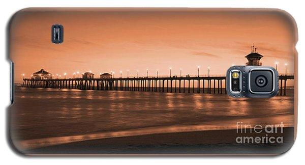 Huntington Beach Pier - Twilight Sepia Galaxy S5 Case by Jim Carrell