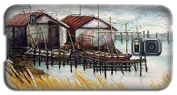Galaxy S5 Case featuring the painting Huts By The Shore by Joey Agbayani