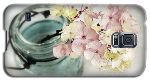 Galaxy S5 Case featuring the photograph Hydrangea In Vintage Robin's Egg Jar by Brooke T Ryan