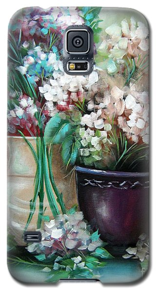Galaxy S5 Case featuring the painting Hydrangea Melody by Patrice Torrillo
