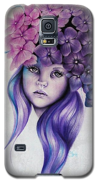 Galaxy S5 Case featuring the mixed media Hydrangea by Sheena Pike