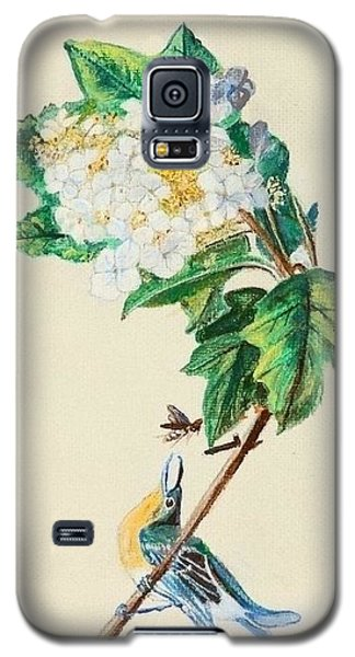 Hydrangea With Yellow Breasted  Vireo After Audubon Galaxy S5 Case by Veronica Rickard