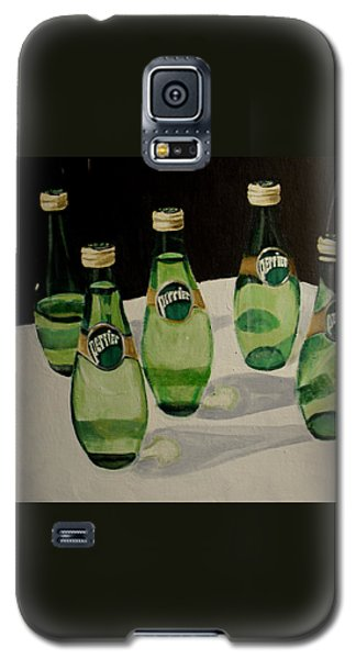 Perrier Bottled Water, Green Bottles, Conceptual Still Life Art Painting Print By Ai P. Nilson Galaxy S5 Case