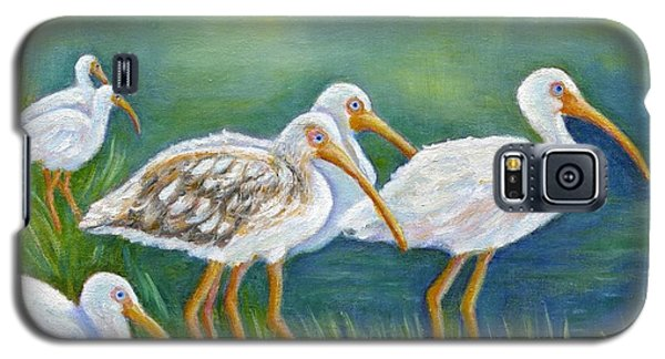 Galaxy S5 Case featuring the painting Ibis Flock With Juvenile by Jeanne Kay Juhos