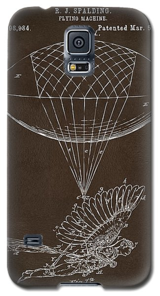 Galaxy S5 Case featuring the drawing Icarus Airborn Patent Artwork Espresso by Nikki Marie Smith