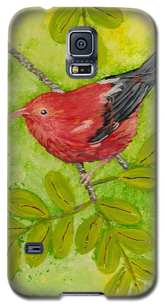 Galaxy S5 Case featuring the painting 'i'iwi by Anna Skaradzinska