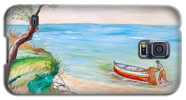 Galaxy S5 Case featuring the painting Il Pescatore Solitario by Loredana Messina