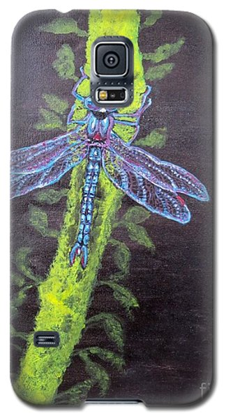 Illumination Of A Blue Dragonfly's Form At Nightfall Painting Galaxy S5 Case by Kimberlee Baxter