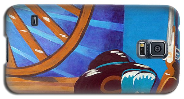 Galaxy S5 Case featuring the painting In Memory Of Cowboys by Margaret Harmon