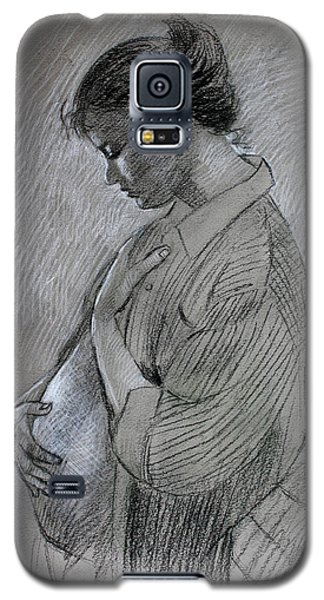 Galaxy S5 Case featuring the drawing In The Family Way by Viola El