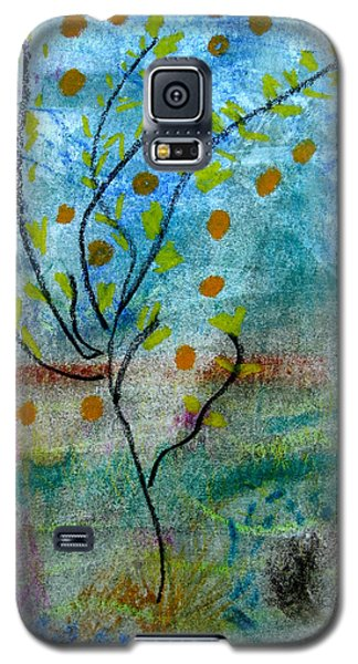 Galaxy S5 Case featuring the pastel In The Garden by Patricia Januszkiewicz