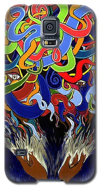Colorful Abstract Art Painting, Creative Energy Flow Art, Afrofuturism Galaxy S5 Case