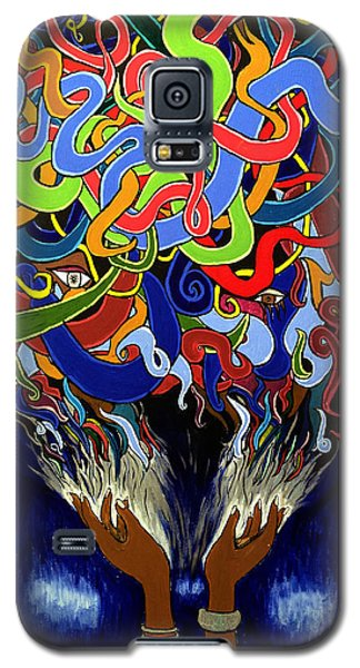 Colorful Abstract Art Painting, African Goddess Art, Creation, Energy, Afrofuturism, Cosmigalaxy Galaxy S5 Case