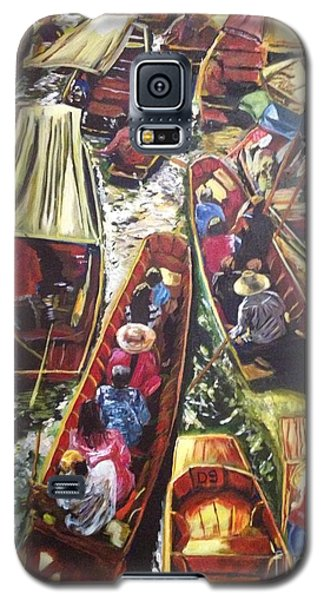 Galaxy S5 Case featuring the painting In The Same Boat by Belinda Low