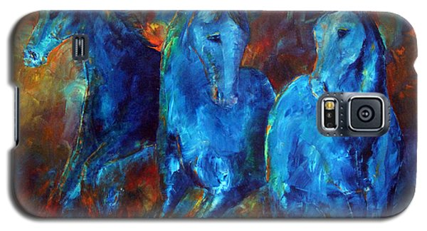 Galaxy S5 Case featuring the painting Abstract Horse Painting Blue Equine by Jennifer Godshalk