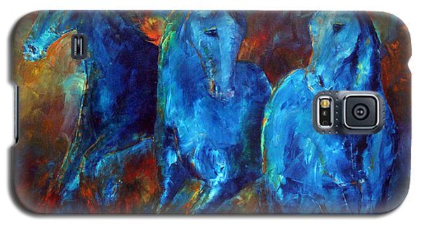 Abstract Horse Painting Blue Equine Galaxy S5 Case