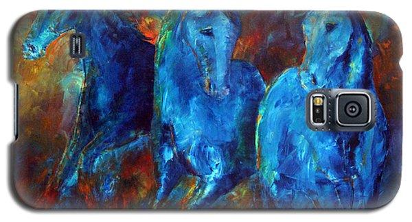 Abstract Horse Painting Blue Equine Galaxy S5 Case by Jennifer Godshalk