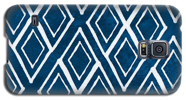 Beach Galaxy S5 Case - Indgo And White Diamonds Large by Linda Woods
