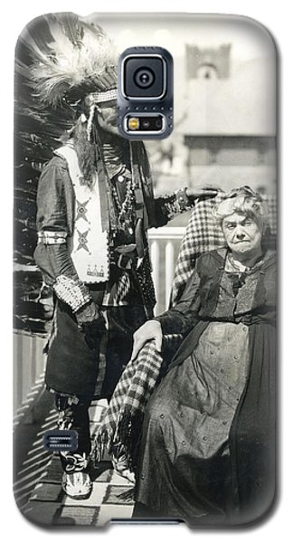 Galaxy S5 Case featuring the photograph Indian Chief And Woman by Charles Beeler