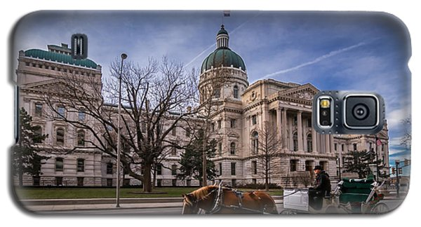 Indiana Capital Building - Front With Horse Passing Galaxy S5 Case