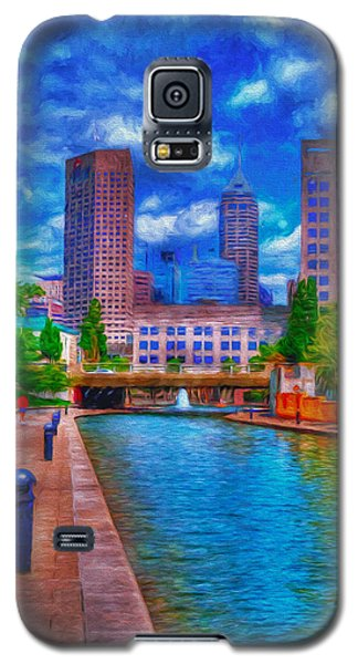Indianapolis Skyline Canal View Digitally Painted Blue Galaxy S5 Case