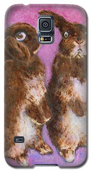 Galaxy S5 Case featuring the painting Indignant Bunny And Friend by Richard James Digance