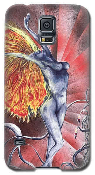 Galaxy S5 Case featuring the mixed media Inferno by Kenneth Clarke