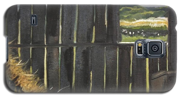 Galaxy S5 Case featuring the painting Barn -inside Looking Out - Summer by Jan Dappen