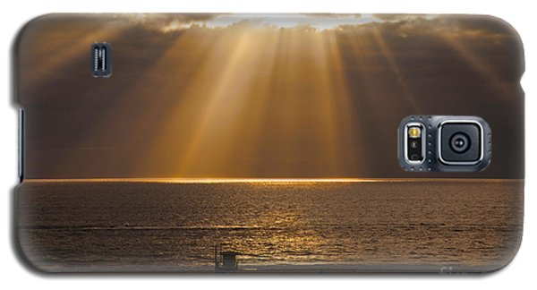 Inspirational Sun Rays Over Calm Ocean Clouds Bible Verse Photograph Galaxy S5 Case