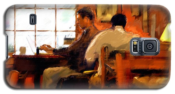 Galaxy S5 Case featuring the painting Internet Coffee House by Ted Azriel