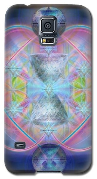 Galaxy S5 Case featuring the digital art Intwined Hearts Chalice Gold Orb In Bright Synthesis by Christopher Pringer