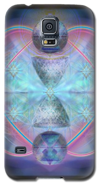 Galaxy S5 Case featuring the digital art Intwined Hearts Chalice Shimmering Turquoise Vortexes by Christopher Pringer