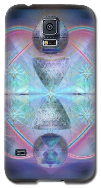 Galaxy S5 Case featuring the digital art Intwined Hearts Gold-lipped 3d Chalice Orbs Radiance by Christopher Pringer