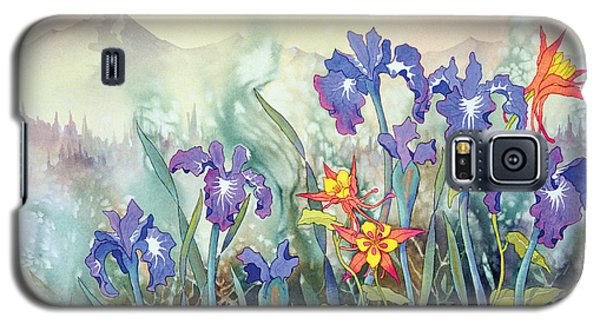 Galaxy S5 Case featuring the painting Iris And Columbine II by Teresa Ascone