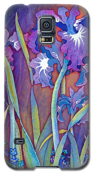 Galaxy S5 Case featuring the mixed media Iris Bouquet by Teresa Ascone