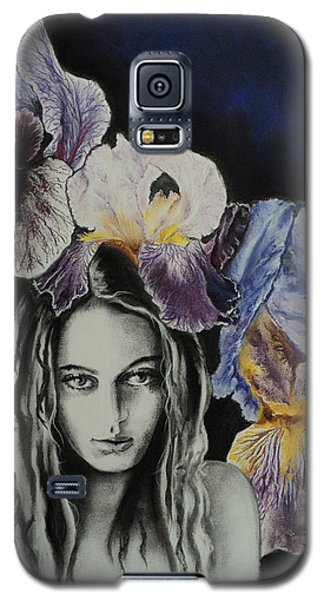 Galaxy S5 Case featuring the drawing Iris by Carla Carson