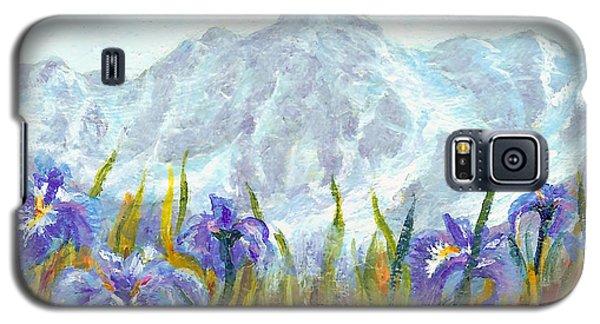 Galaxy S5 Case featuring the painting Iris Field In Alaska by Karen Mattson