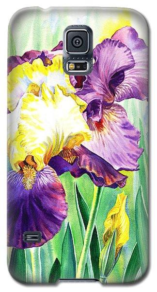 Galaxy S5 Case featuring the painting Iris Flowers Garden by Irina Sztukowski