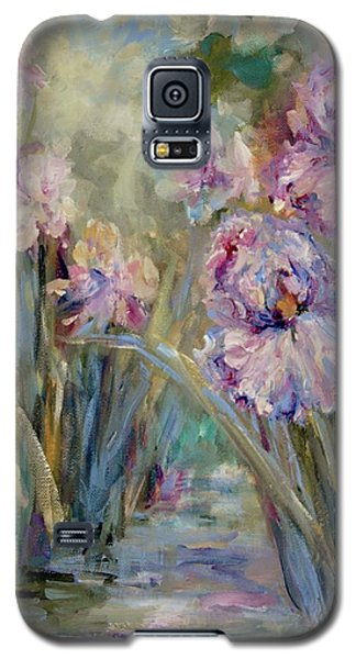 Galaxy S5 Case featuring the painting Iris Garden by Mary Wolf