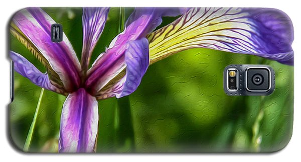 Galaxy S5 Case featuring the photograph Iris In Oil by Susan Crossman Buscho