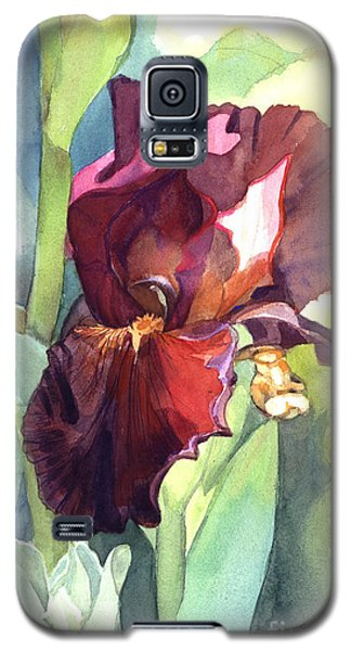Iris In Red And Burgundy Galaxy S5 Case by Greta Corens