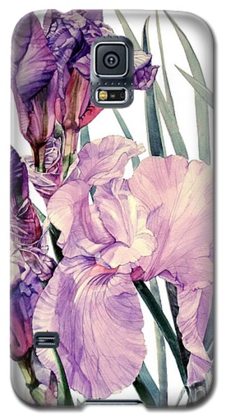 Watercolor Of An Elegant Tall Bearded Iris In Pink And Purple I Call Iris Joan Sutherland Galaxy S5 Case