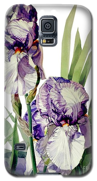 Watercolor Of A Tall Bearded Iris In Violet And White I Call Iris Selena Marie Galaxy S5 Case