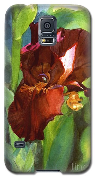 Galaxy S5 Case featuring the painting Iris Sienna Brown by Greta Corens