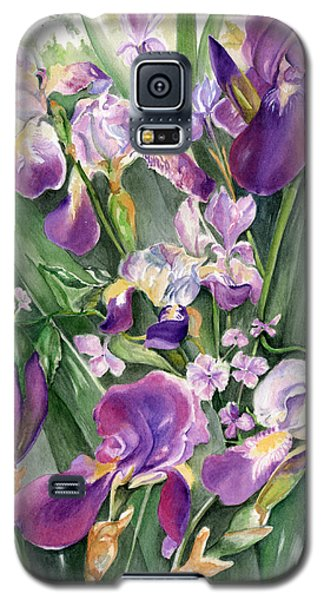 Galaxy S5 Case featuring the painting Irises In The Garden by Nadine Dennis