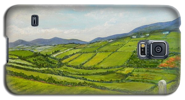 Galaxy S5 Case featuring the painting Irish Fields - Landscape by Sandra Nardone
