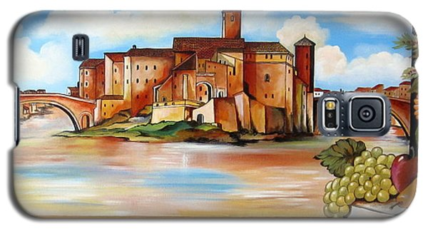 Galaxy S5 Case featuring the painting Isola Tiberina Rome by Roberto Gagliardi