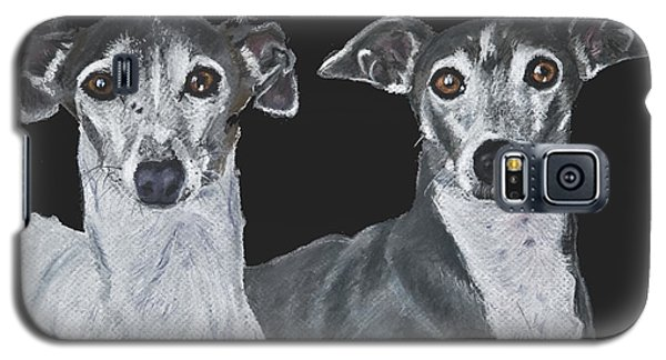 Italian Greyhounds Portrait Over Black Galaxy S5 Case