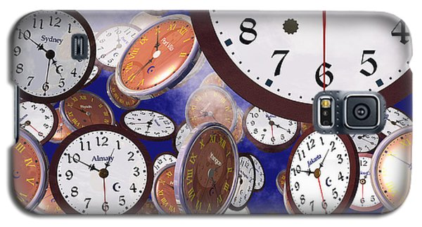 Galaxy S5 Case featuring the digital art It's Raining Clocks - New York by Nicola Nobile