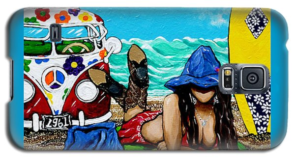 Galaxy S5 Case featuring the painting J. C. Beaching It In 1961 by Jackie Carpenter